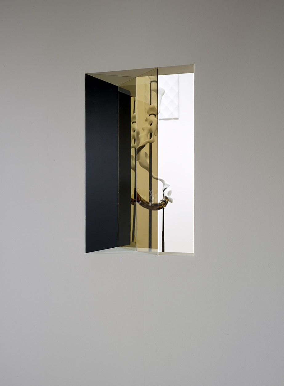 'Window', 2014. Wall, wood, mirror, one-way mirror